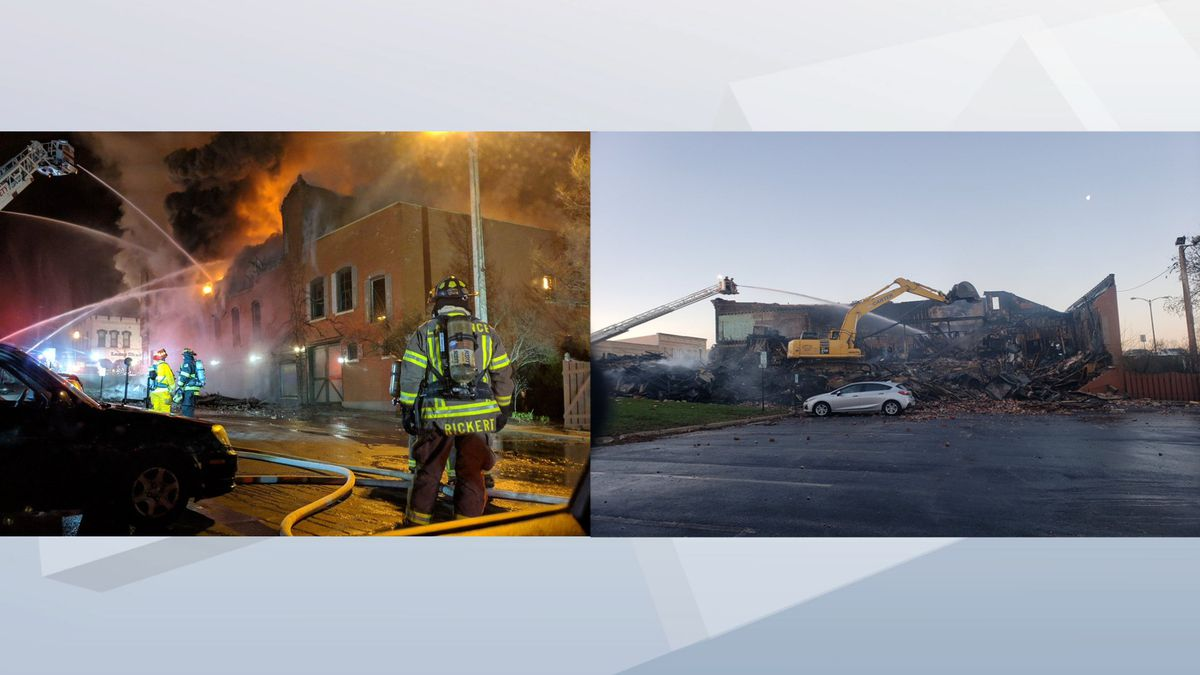 Fire destroyed a building at 100 S. Broadway in De Pere on April 24, 2019 (WBAY photos)