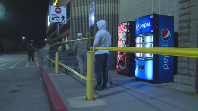 Black Friday shoppers wait for doors to open at Walmart