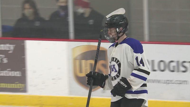 Mosinee sophomore hockey player Caden Schmirler during a game in Mosinee, Wisconsin. (WSAW)