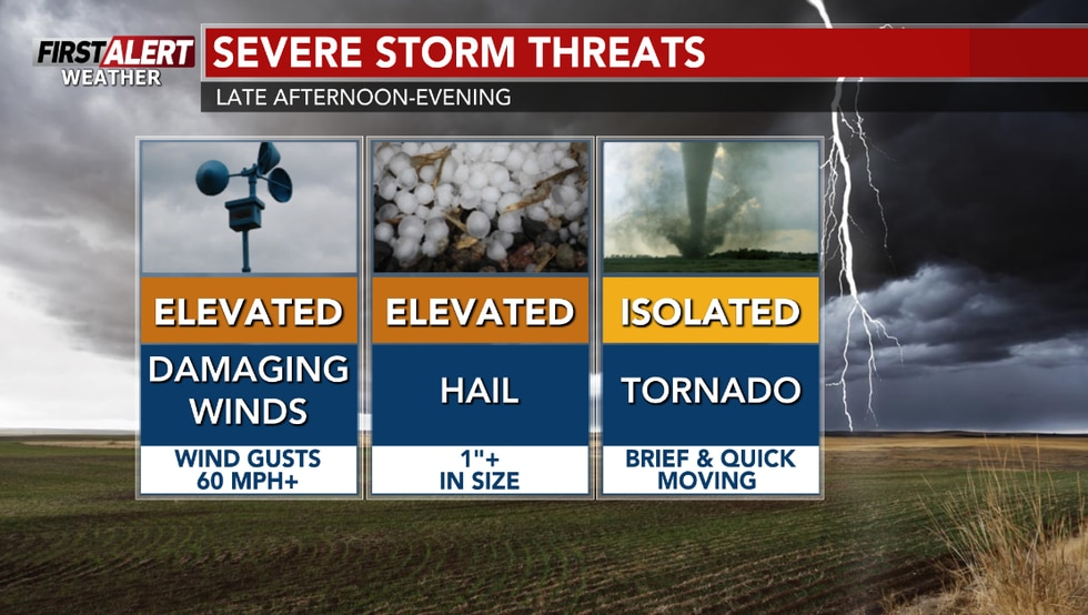 Damaging winds and large hail are the main threats, with downpours expected. An isolated chance...