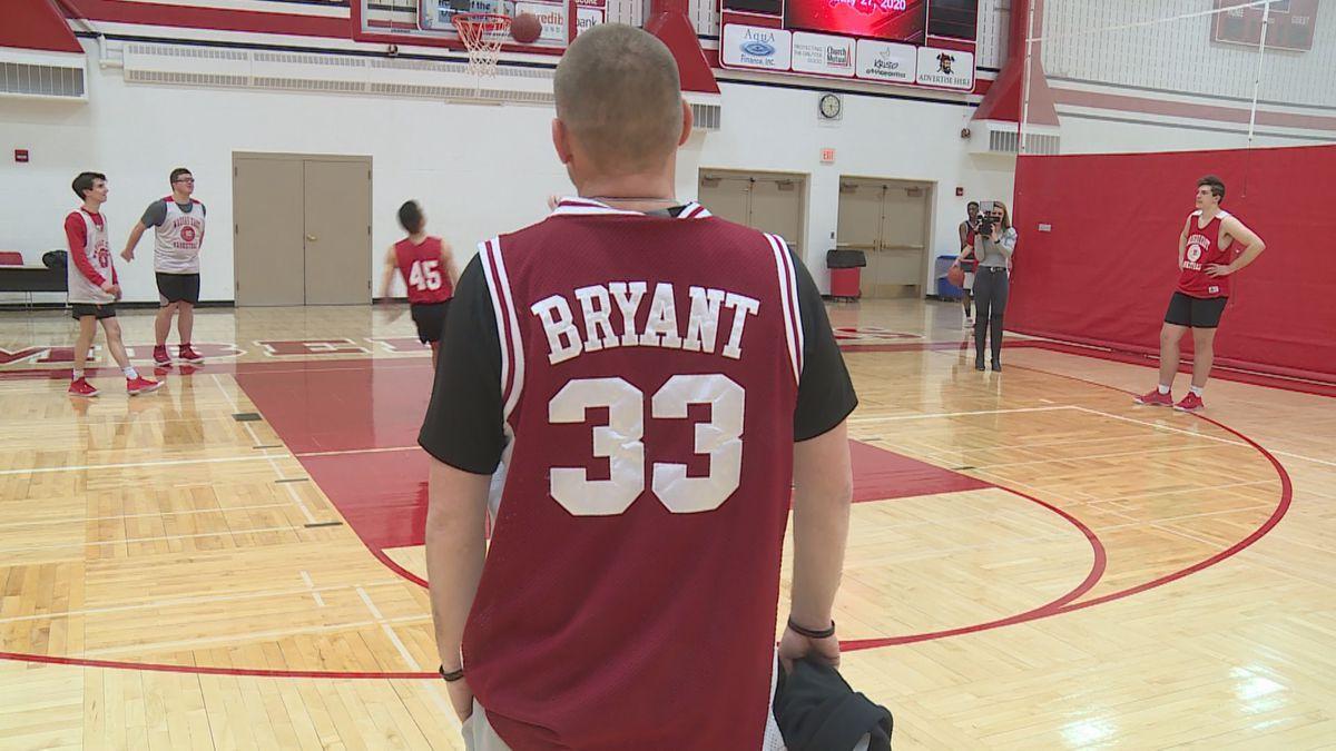 Wausau East basketball head coach Troy Pieper wearing a Kobe Bryant jersey at Wausau East High School on January 27, 2020. (WSAW)