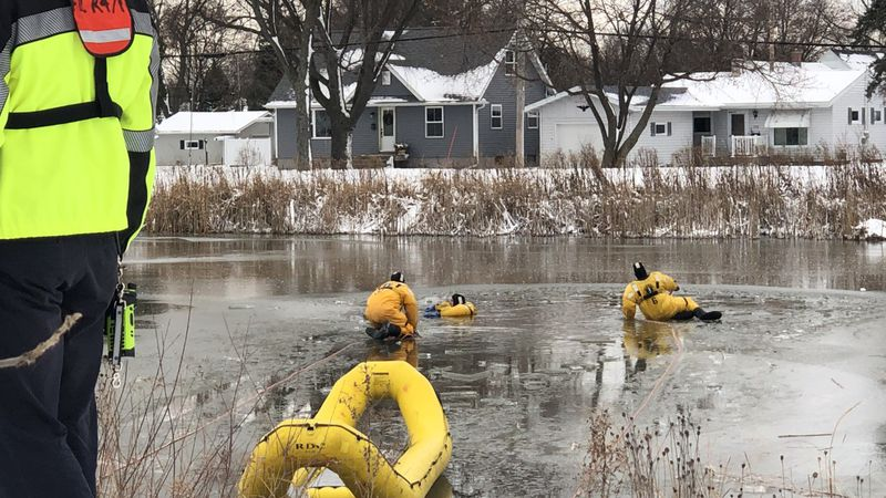 Members of Fond du Lac Fire Rescue train on ice rescues.