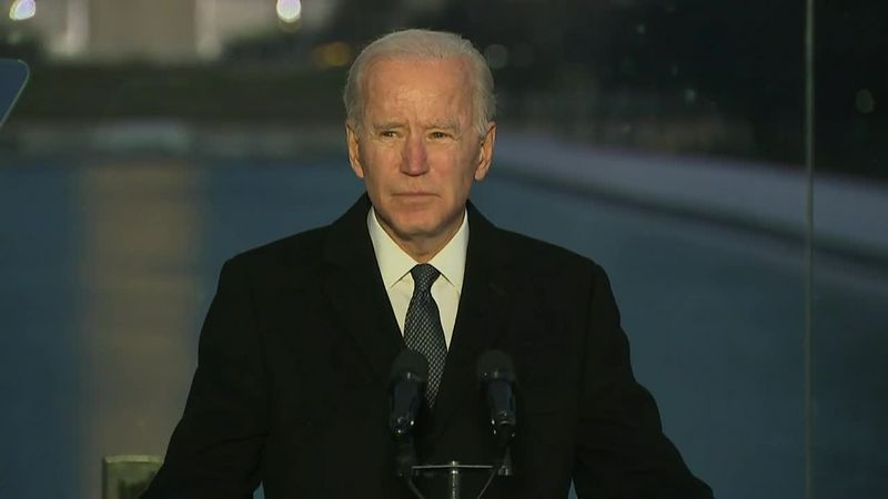 President-elect Joe Biden speaks at a COVID memorial service.