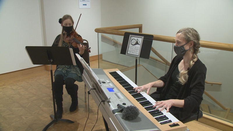 """Two members of the Central Wisconsin Symphony Orchestra preform at the """"Birds in Art"""" exhibit"""