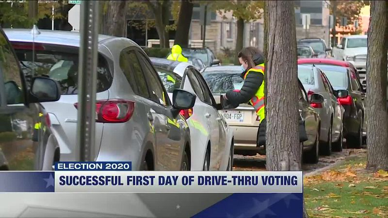 Officials, voters pleased with first day of Wausau drive-thru voting