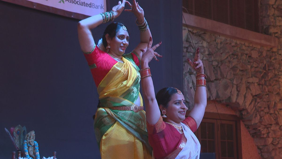 Performers dance at the 2019 Diwali celebration in Rothschild. 11/16/19 (WSAW photo)
