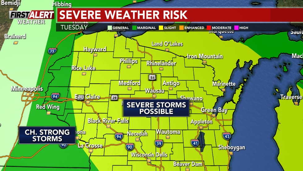 Strong to severe storms are expected this afternoon into this evening.
