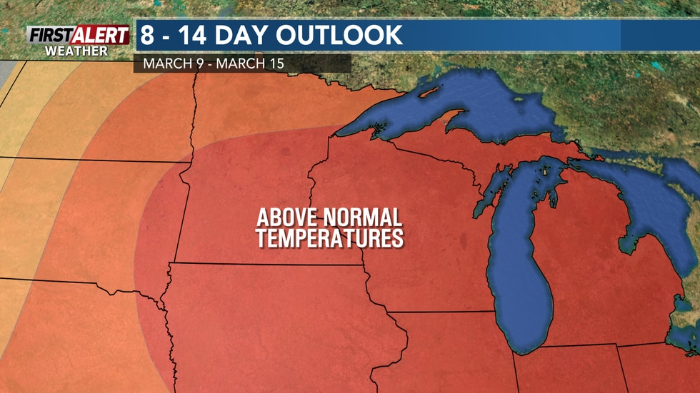 Temperatures will average well above the lower 30s throughout the middle of March