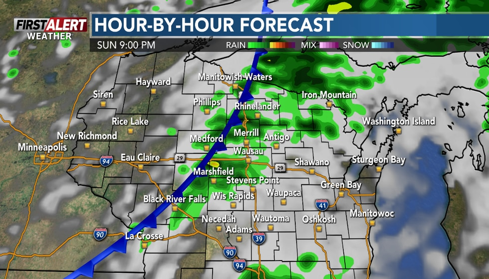 A cold front will move through the area Sunday evening.