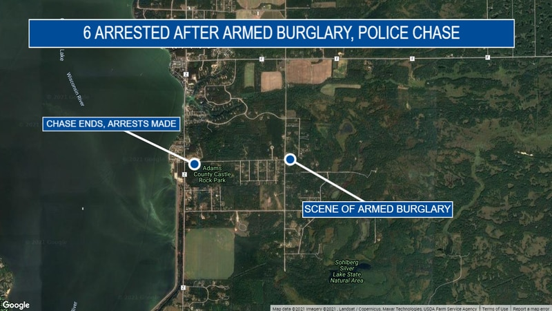 Six people are under arrest after an armed burglary and police chase in Adams County.