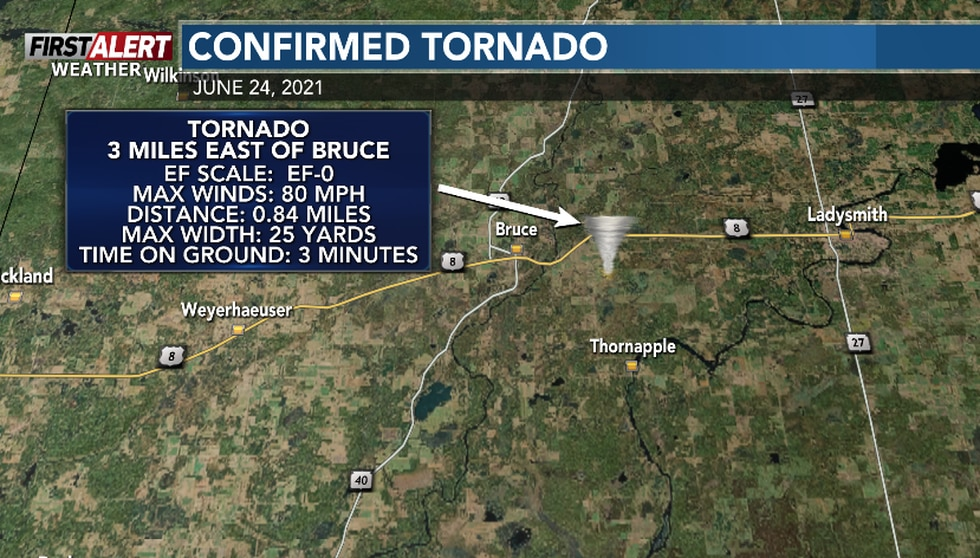 This tornado impacted locations east of Bruce in Rusk County on June 24th.