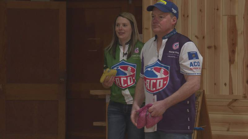 Maggie Geiger and her dad, Wayne Rau, are hoping to win the Coed division at the American...