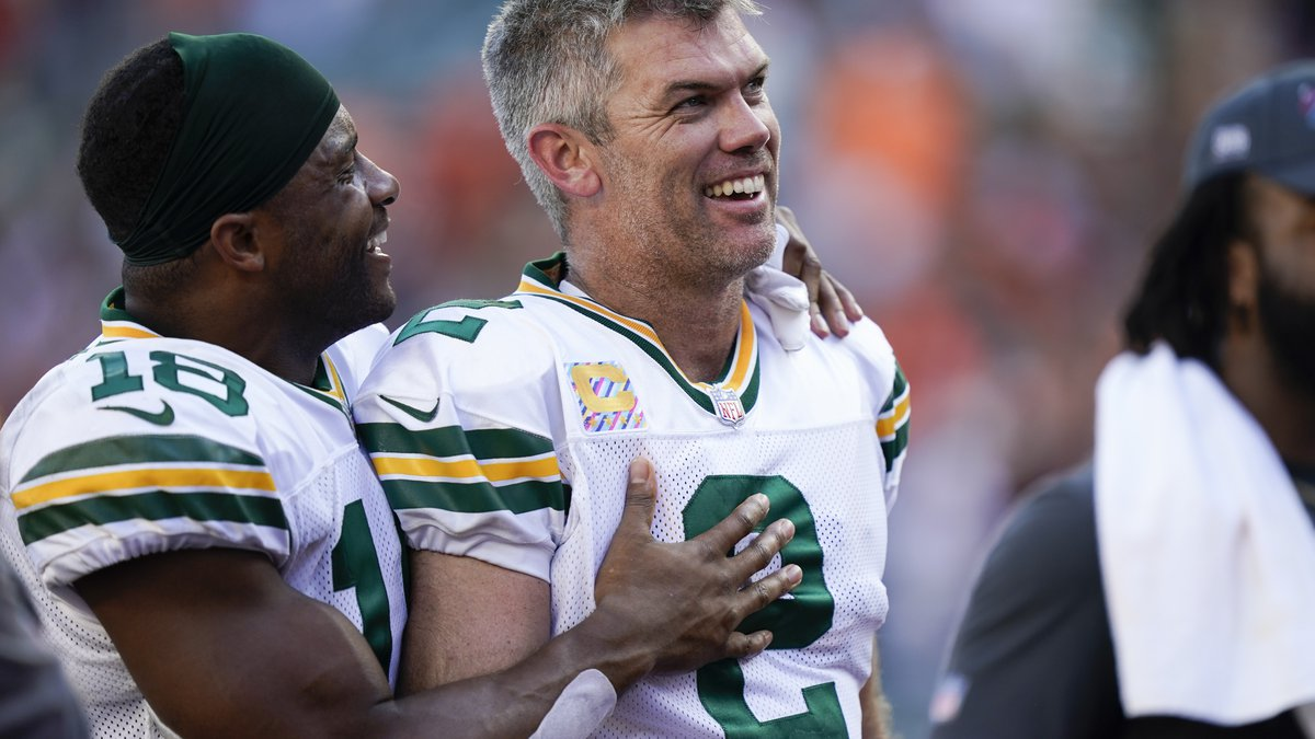 Green Bay Packers kicker Mason Crosby (2) is congratulated by wide receiver Randall Cobb (18)...