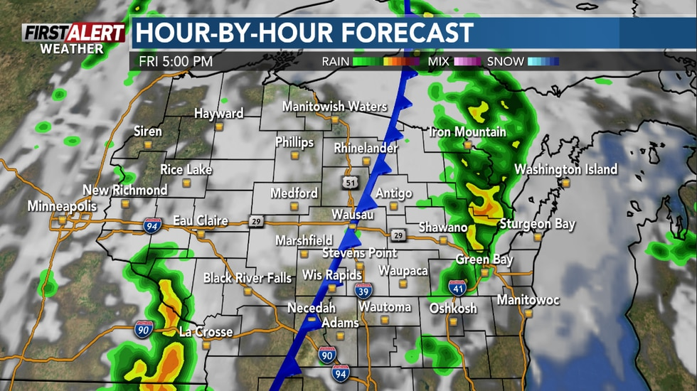 Scattered storms on Friday afternoon with a cold front.