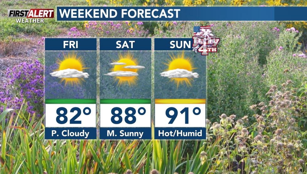 Warmer and more humid this weekend.