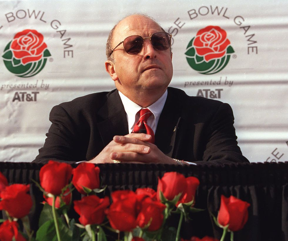 Wisconsin head coach Barry Alvarez listens to a question during the final coaches press...
