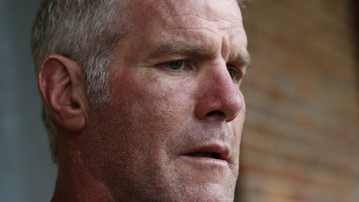 FILE - In this Oct. 17, 2018, file photo, former NFL quarterback Brett Favre speaks with reporters in Jackson, Miss. (AP Photo/Rogelio V. Solis, File)