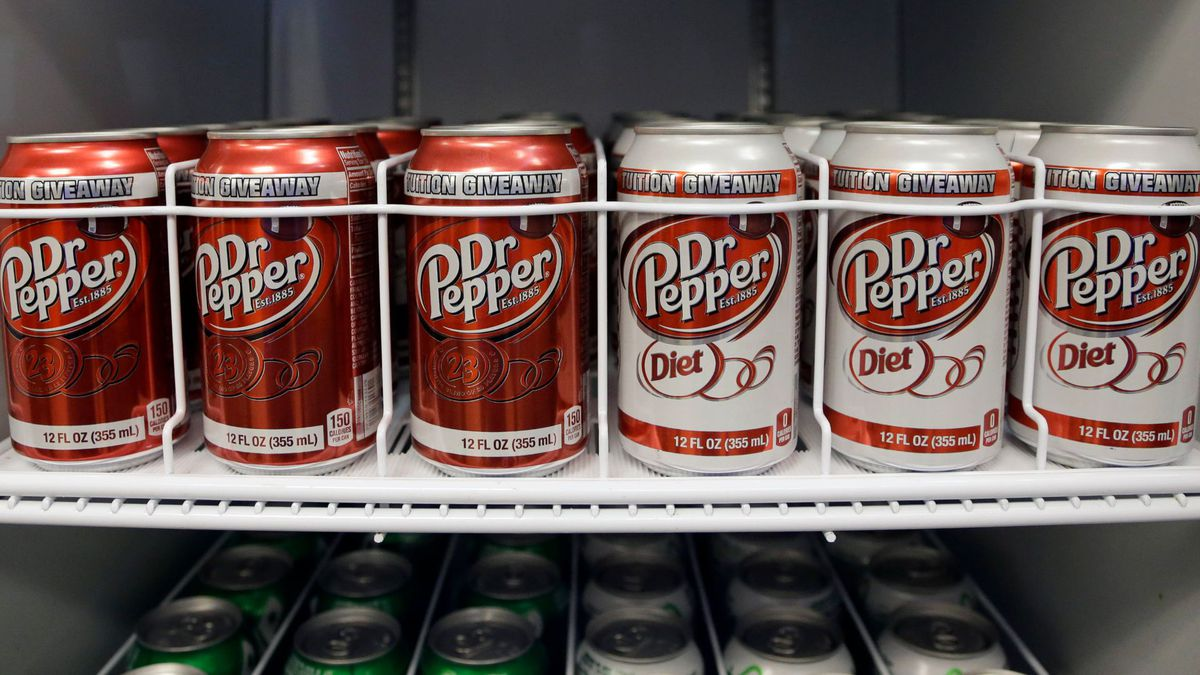 In this Oct. 6, 2013, photo, Dr Pepper cans are refrigerated at Soldier Field in Chicago.