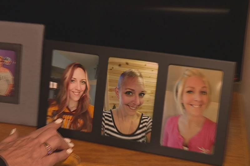 Veronica Lyon points to a picture of her daughter Michelle, who was diagnosed with metastatic...
