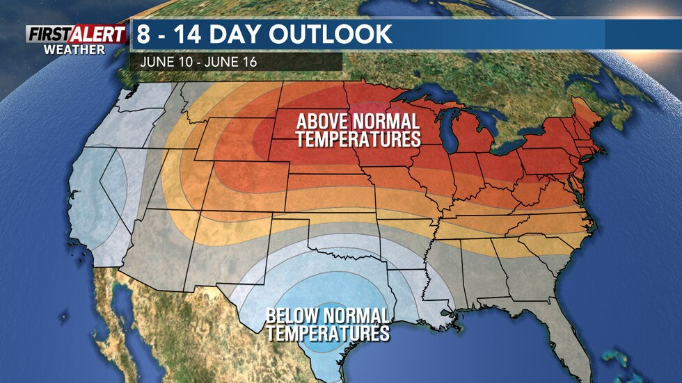 Temperatures will remain quite warm for the middle of June.