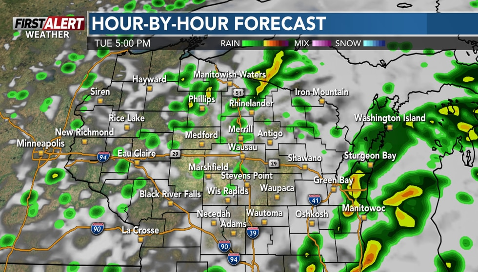 Scattered showers and storms lasting into Tuesday evening.