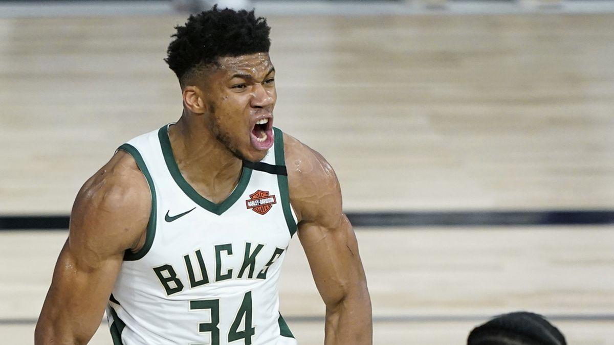 Milwaukee Bucks forward Giannis Antetokounmpo (AP Photo/Ashley Landis, Pool)