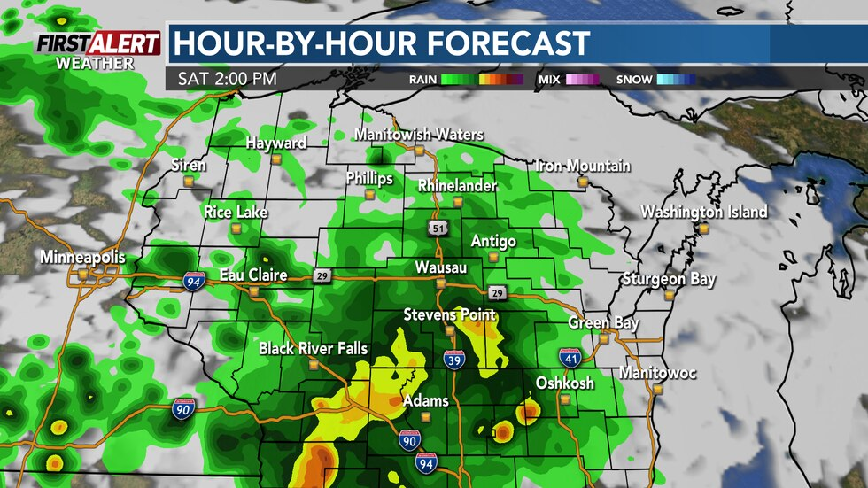 Showers and thunderstorms mid-day Saturday