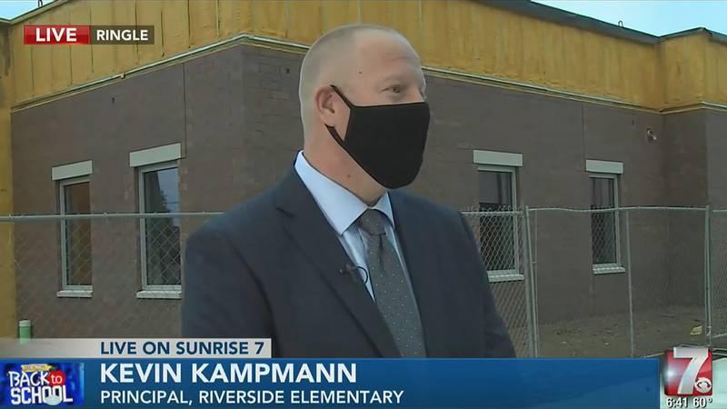 Principal Kevin Kampmann talks with Sunrise 7