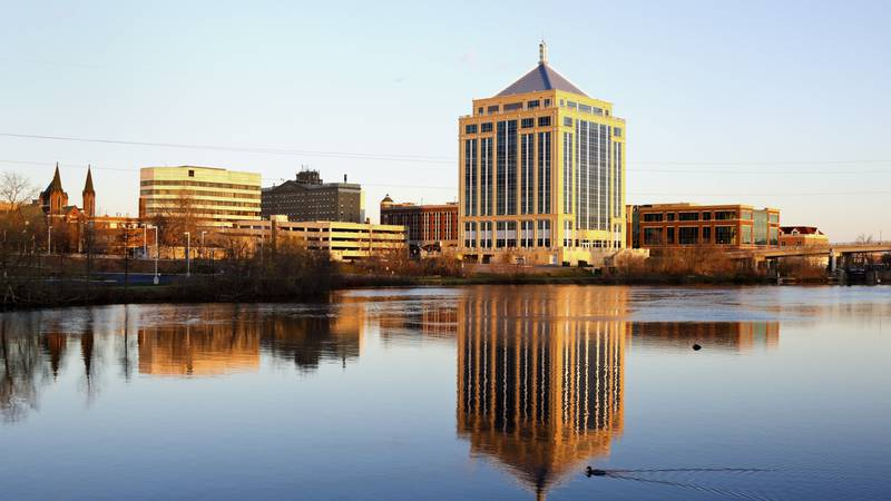 Wausau, Wisconsin seen during the sunset across the river.