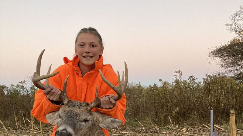 Danica with her first buck