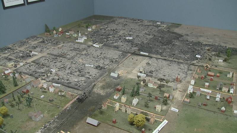 Model details the destruction of The Great Marshfield Fire of 1887.
