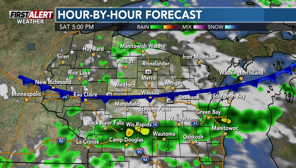Scattered showers and storms are possible in early Saturday evening.