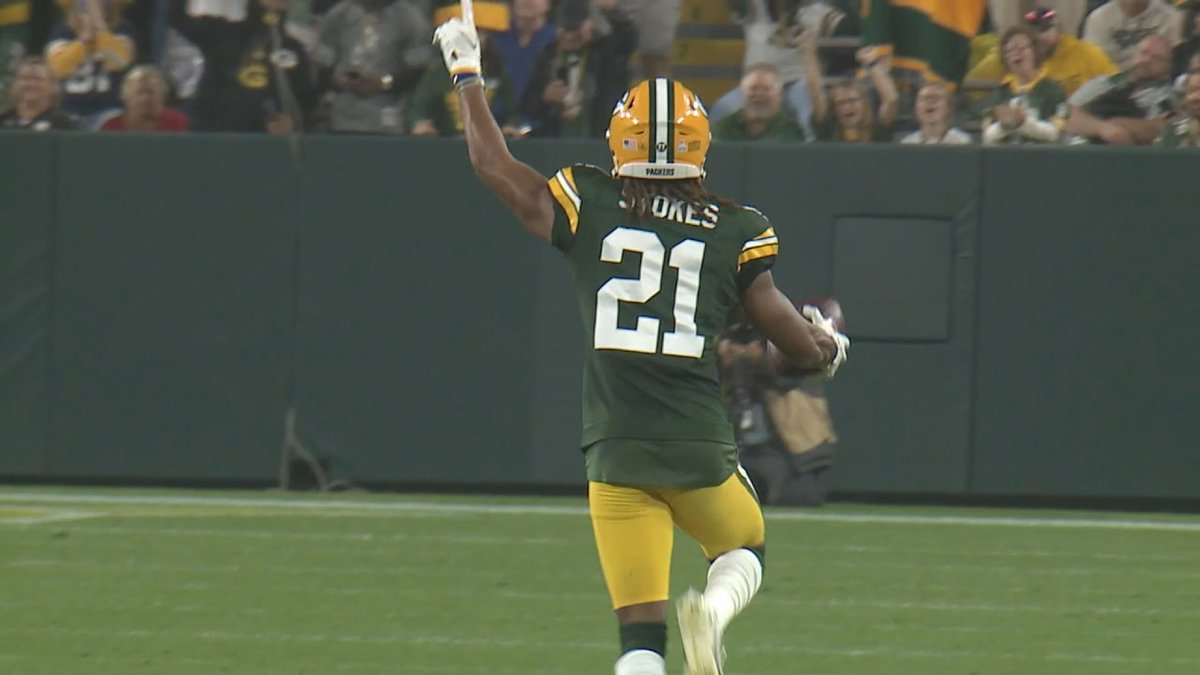 Packers rookie cornerback Eric Stokes after his first career interception against the...