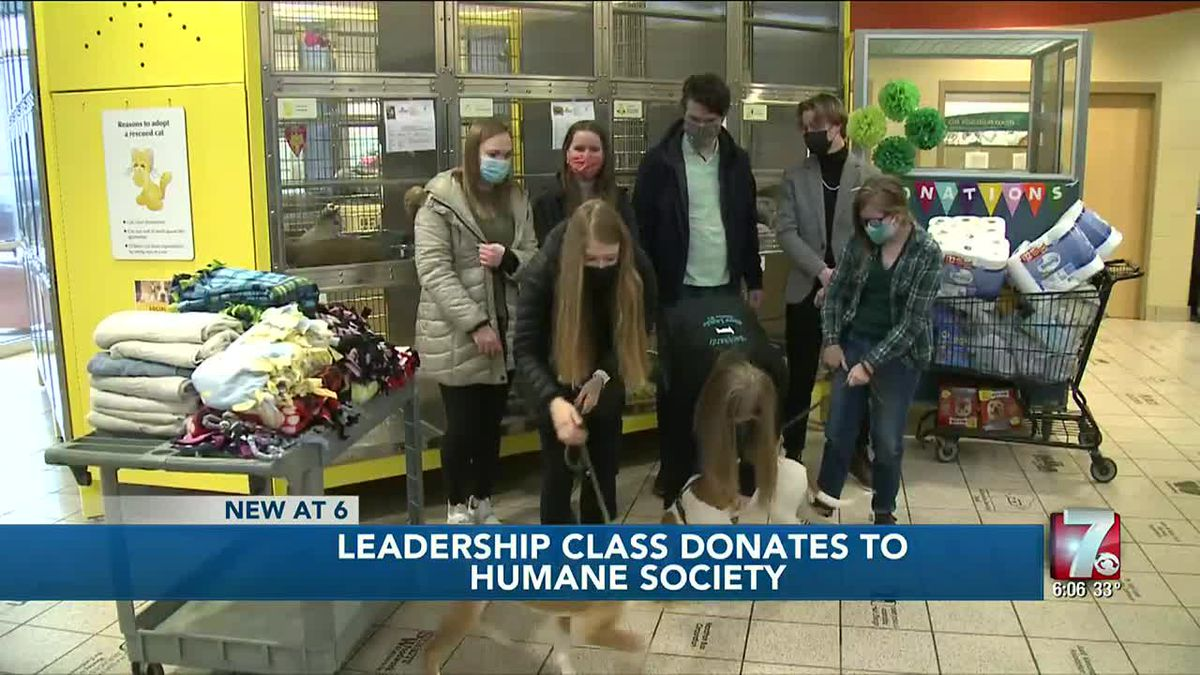 Wausau West High School leadership class makes donation to Humane Society of Marathon Co.