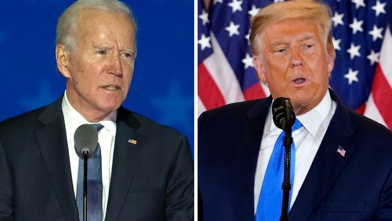 From left: Democratic nominee Joe Biden and President Donald Trump each speak early Nov. 4,...
