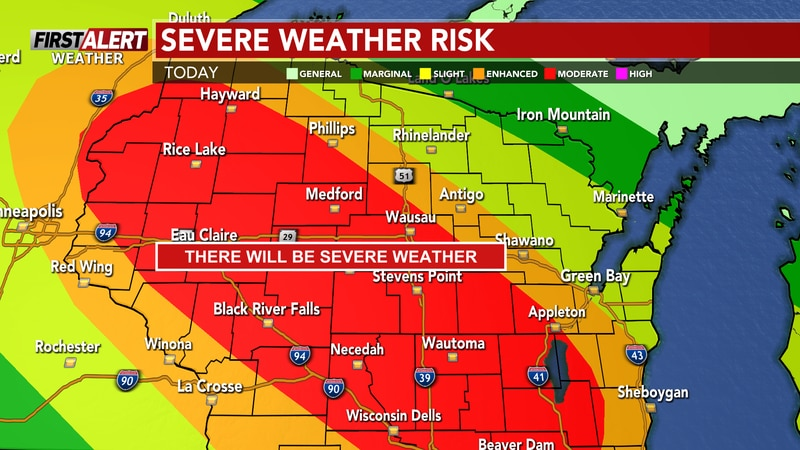 Moderate risk for areas NW to SE.