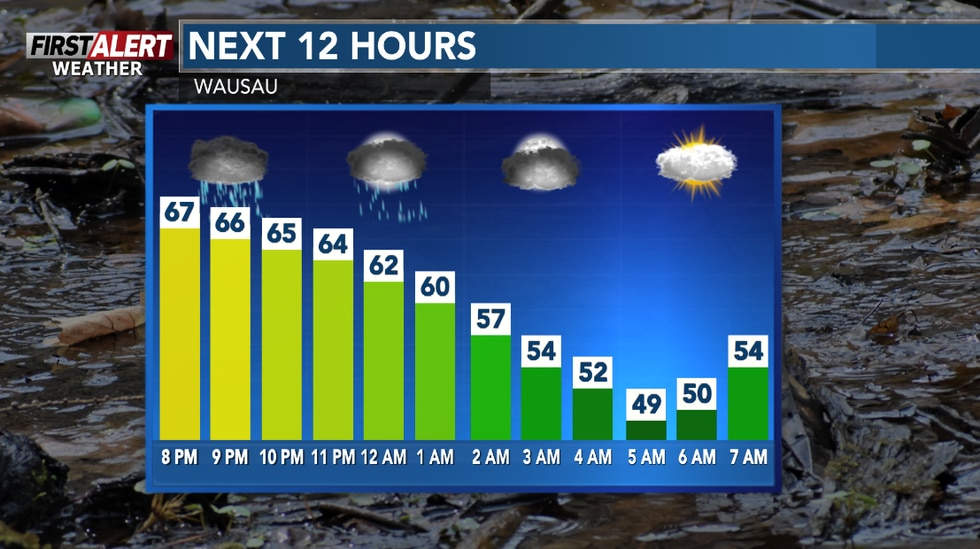 Showers and storms ending then breezy with clouds overnight.