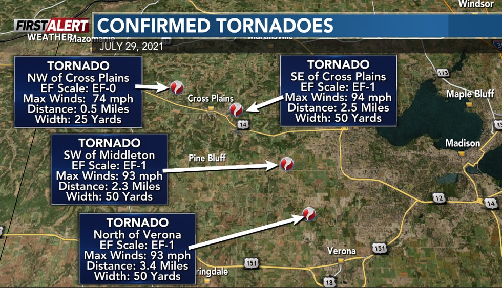 Four tornadoes were confirmed in Dane County.