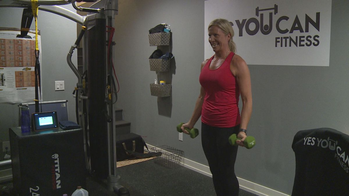 Sarah Riley during a workout on March 25, 2020. (WSAW photo)