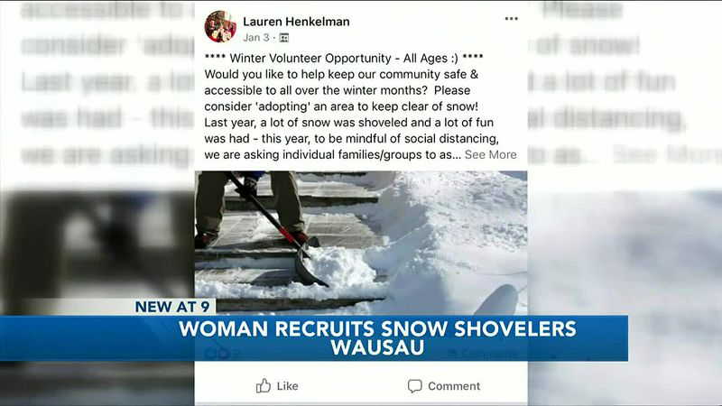 Woman recruits snow shovelers