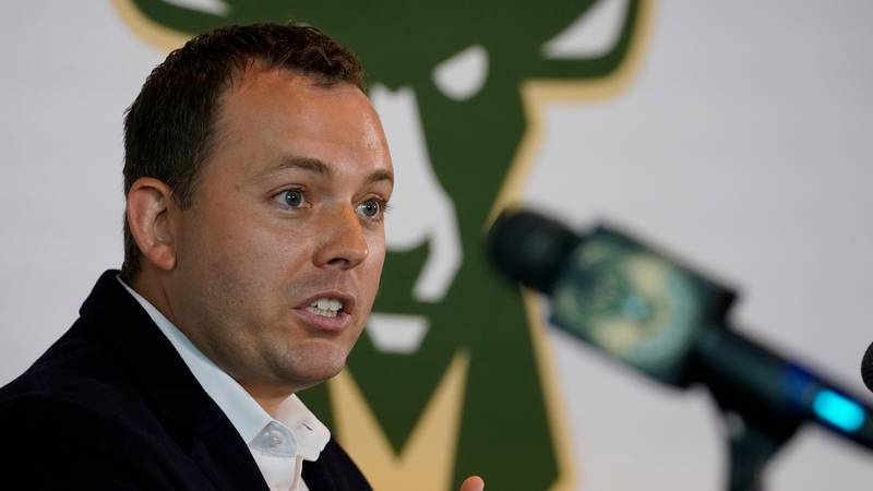 FILE - In this June 19, 2017, file photo, Milwaukee Bucks general manager Jon Horst speaks at a...