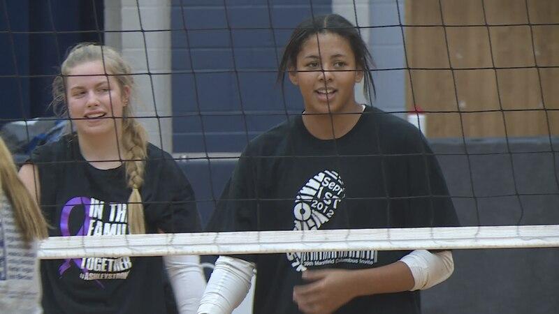 Dorci Walker practices at Columbus Catholic High School on Oct. 20.