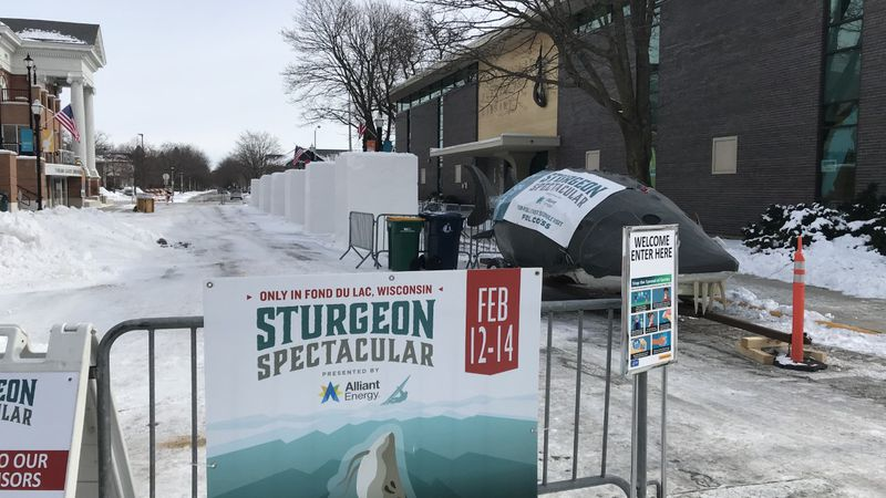 An area of downtown Fond du Lac is set up to host the annual Sturgeon Spectacular.