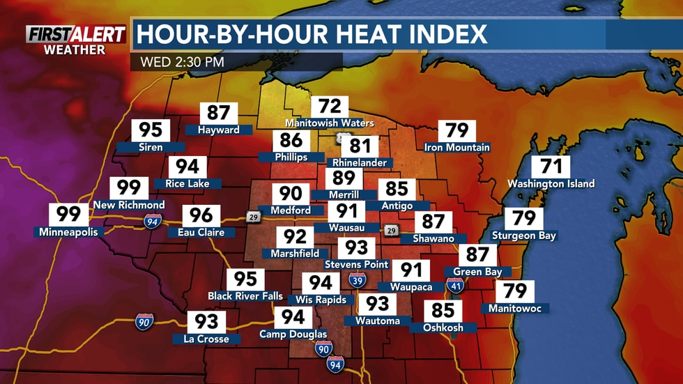 Heat indices near 100-degrees by the afternoon.
