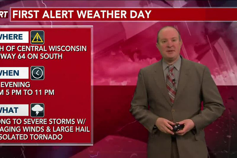 Strong to severe storms are expected this evening with damaging winds and large hail the main...