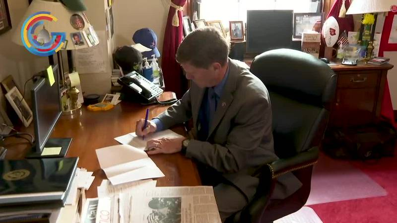 Congressman Ron Kind (D-WI) works at his desk in his Washington, DC office.