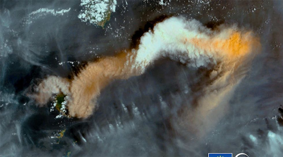 A Saturday satellite image shows the reach of the volcanic plume from the La Soufrière...