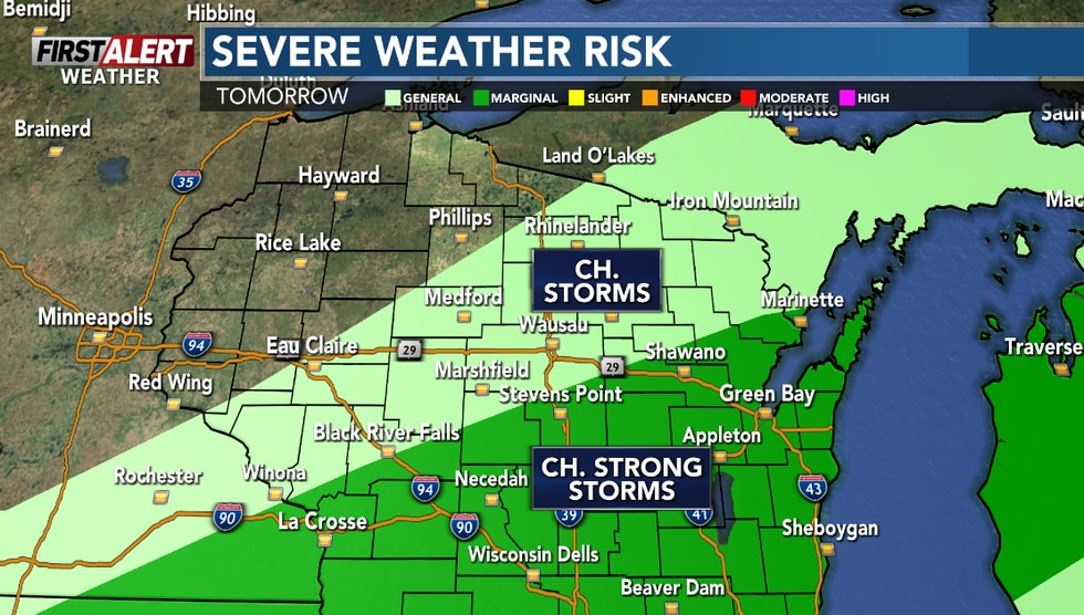 Scattered afternoon showers or storms are possible in Central Wisconsin Monday.