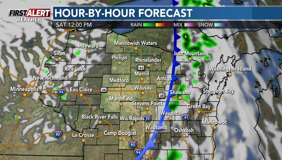 Some sunshine returns by Saturday afternoon.