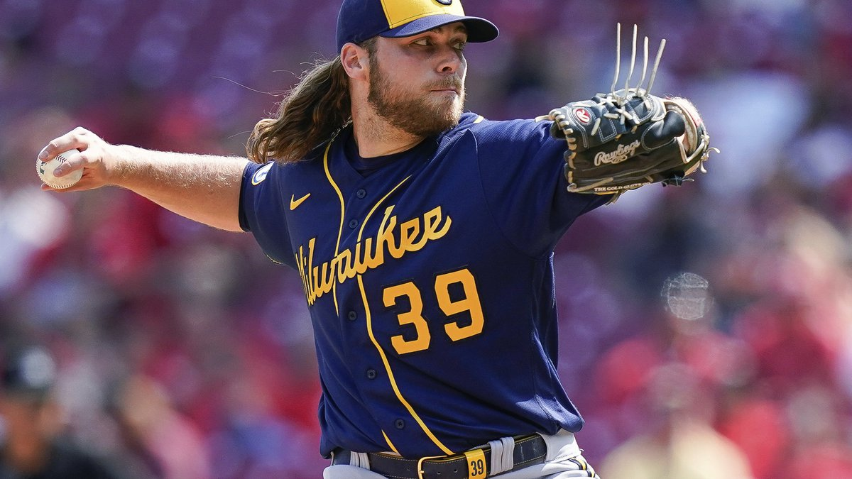 Milwaukee Brewers starting pitcher Corbin Burnes throws during the ninth inning of the team's...